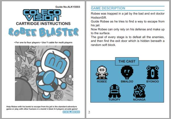 RobeeBlaster pour Colecovision Manual_preview